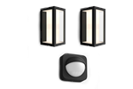 HUEIMPRESSMOTION - Philips Hue Outdoor Motion Sensor + 2pcs Impress Wall Lantern