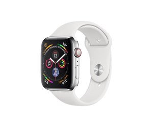 MTX02KS/A - Apple Watch Series 4 (GPS + Cellular) 44mm - Stainless Steel with White Sport Band