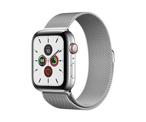MWWG2DH/A - Apple Watch Series 5 (GPS + Cellular) 44mm Stainless Steel Case with Stainless Steel Milanese Loop