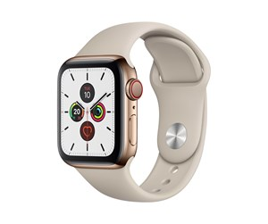 MWX62DH/A - Apple Watch Series 5 (GPS + Cellular) 40mm Gold Stainless Steel Case with Stone Sport Band