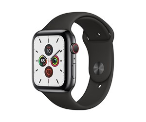 MWWK2DH/A - Apple Watch Series 5 (GPS + Cellular) 44mm Space Black Stainless Steel Case with Black Sport Band