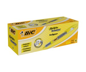802304 - BIC Highlighter Technolight Highlightere Justerbar skrå spids – Gul, boks med 12