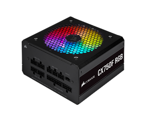CP-9020218-EU - Corsair CX750F RGB - Black Strømforsyning - 750 Watt - 120 mm - 80 Plus Bronze certified
