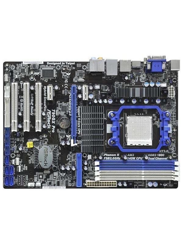 Image of   ASRock 790GX Pro Bundkort - AMD 790GX - AMD AM3 socket - DDR3 RAM - ATX