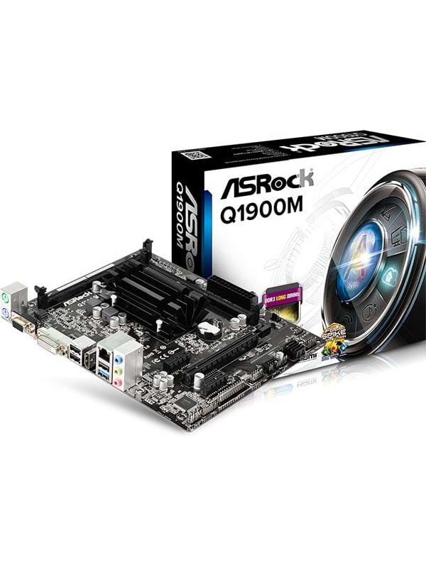 Image of   ASRock Q1900M Bundkort - Intel Bay Trail-D - Intel Onboard CPU socket - DDR3 RAM - Micro-ATX