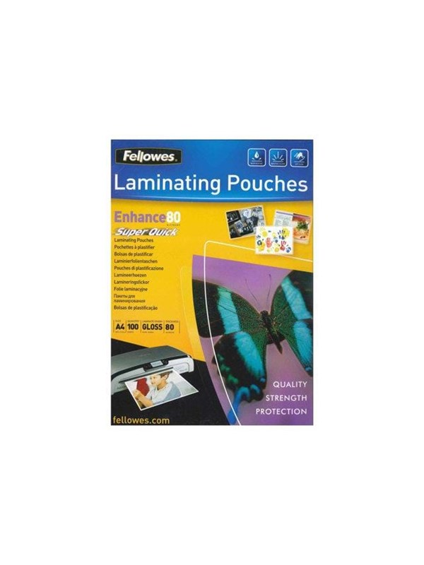 Image of   Fellowes Laminating Pouches SuperQuick Enhance 80 micron