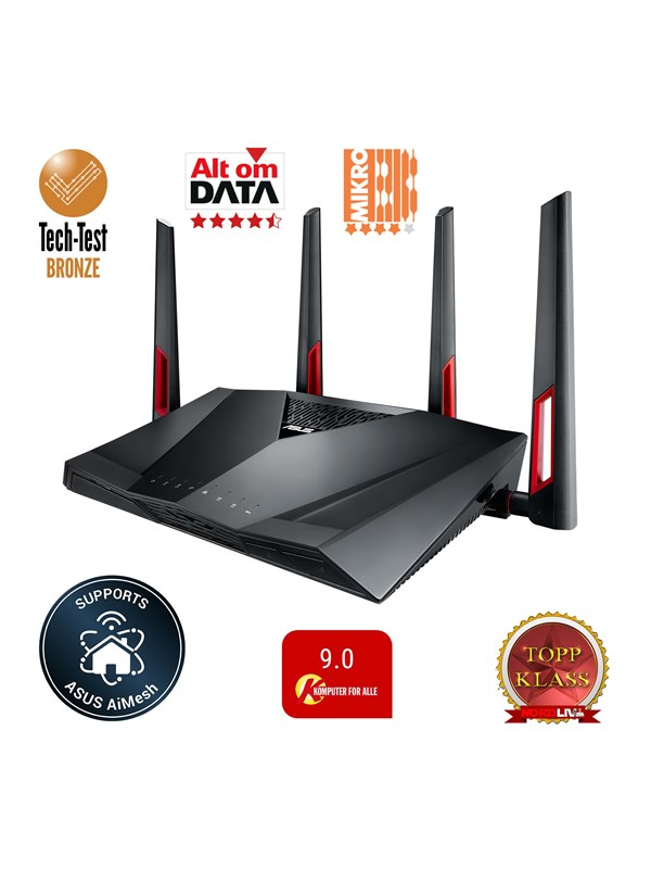Image of   ASUS RT-AC88U - Trådløs router AC Standard - 802.11ac