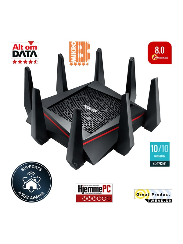 Image of   ASUS RT-AC5300 Tri Band - Trådløs router AC Standard - 802.11ac