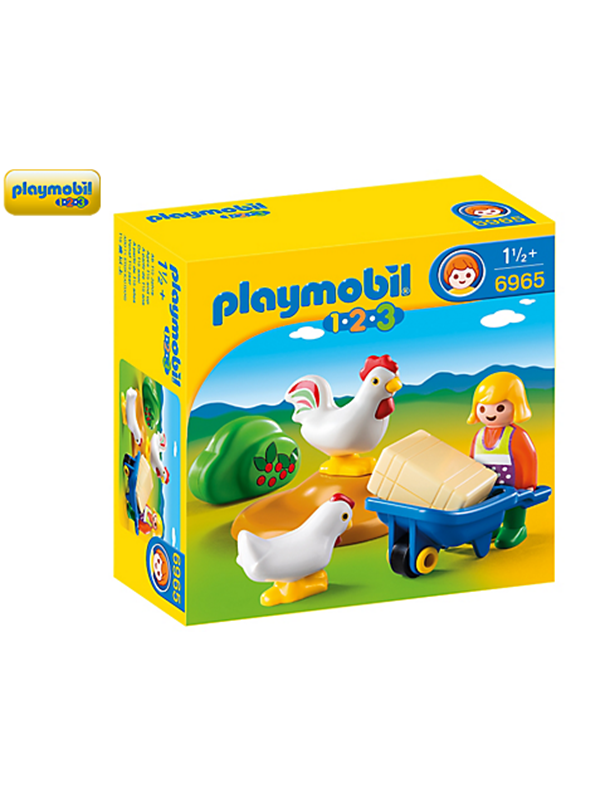 Image of   Playmobil 1.2.3 - Famer's Wife with Hens - 6965