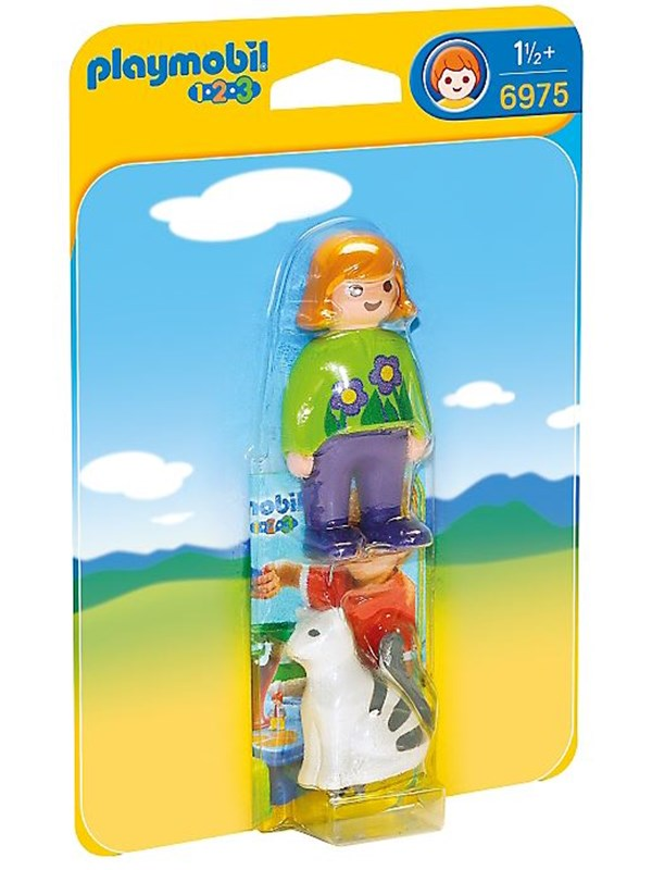 Image of   Playmobil 1.2.3 - Woman with Cat - 6975