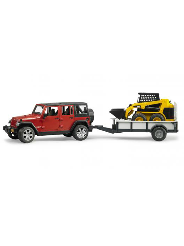 Image of   Bruder Jeep Wrangler Unlimited Rubicon, one axle trailer + CAT Skid steer loader
