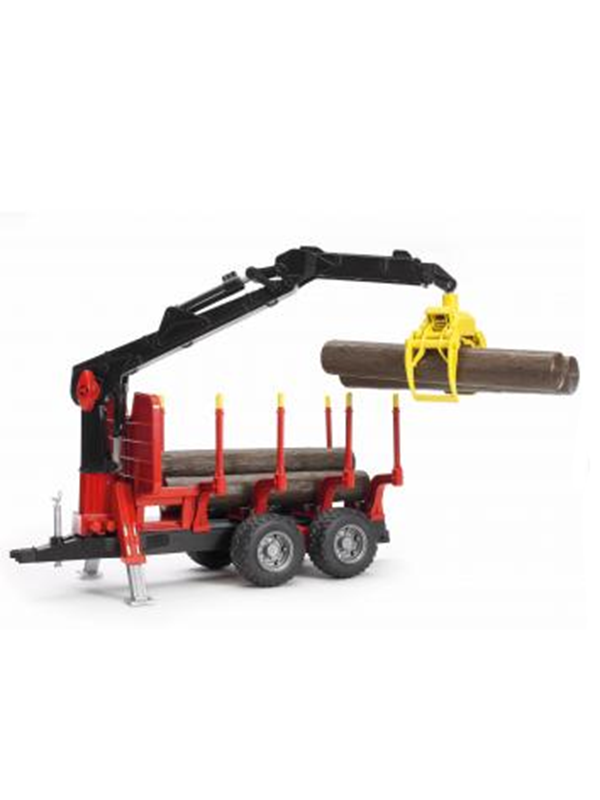 Image of   Bruder Forestry trailer with loading crane, 4 trunks and grab