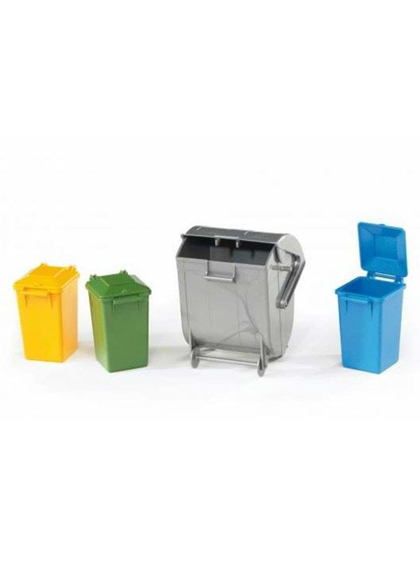 Image of   Bruder Accessories: Garbage can set (3 small, 1 large)