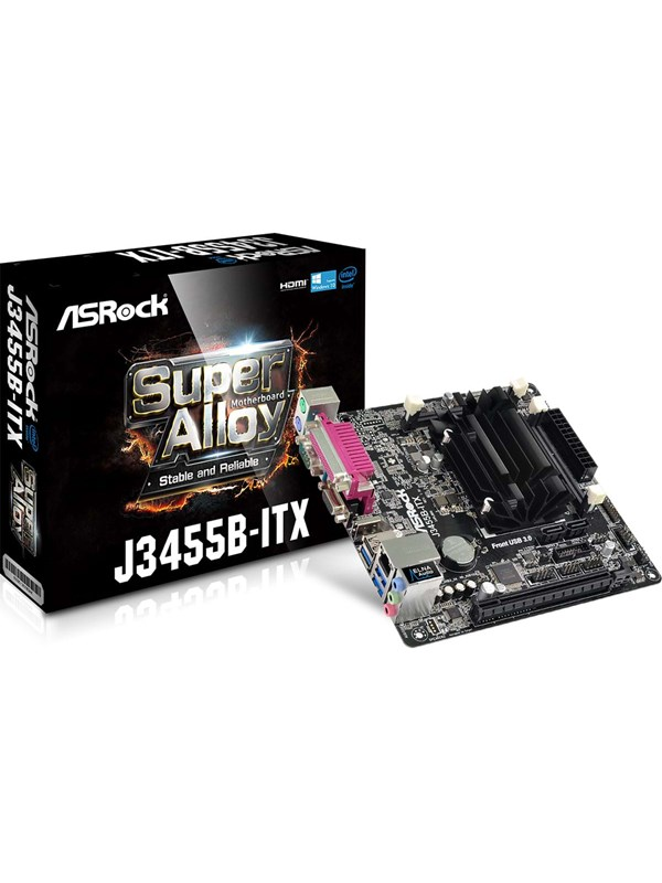 Image of   ASRock J3455B-ITX Bundkort - Intel Apollo Lake - Intel Onboard CPU socket - DDR3 RAM - Mini-ITX