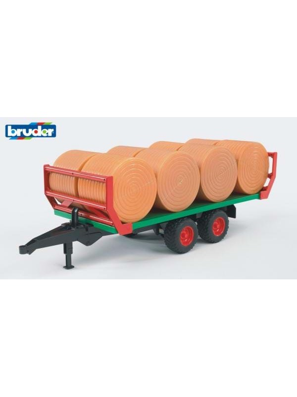 Image of   Bruder Bale transport trailer with 8 round bales