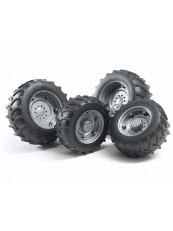 Image of   Bruder Accessories: Twin tyres with silver rims, super-pro