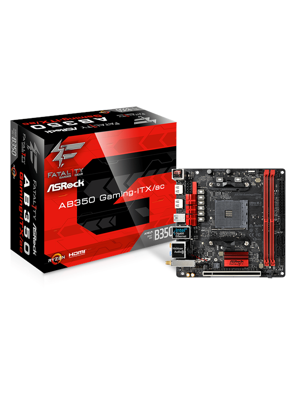 Image of   ASRock Fatal1ty AB350 Gaming-ITX/ac Bundkort - AMD B350 - AMD AM4 socket - DDR4 RAM - Mini-ITX
