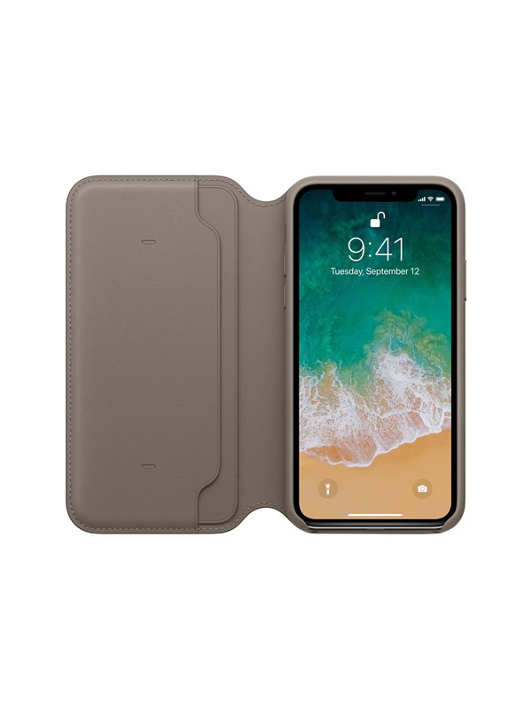Image of   Apple iPhone X Leather Folio - Taupe