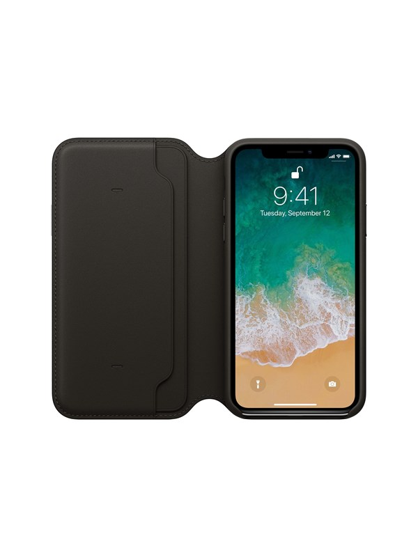 Image of   Apple iPhone X Leather Folio - Black