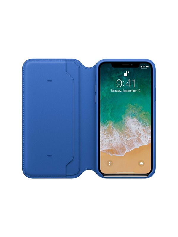 Image of   Apple iPhone X Leather Folio - Electric Blue