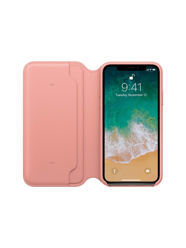 Image of   Apple iPhone X Leather Folio - Soft Pink
