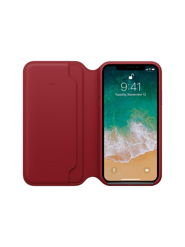 Image of   Apple iPhone X Leather Folio - (PRODUCT)RED