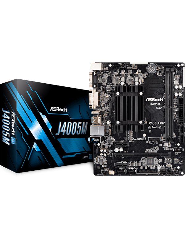 Image of   ASRock J4005M Bundkort - Intel Gemini Lake - Intel Onboard CPU socket - DDR4 RAM - Micro-ATX
