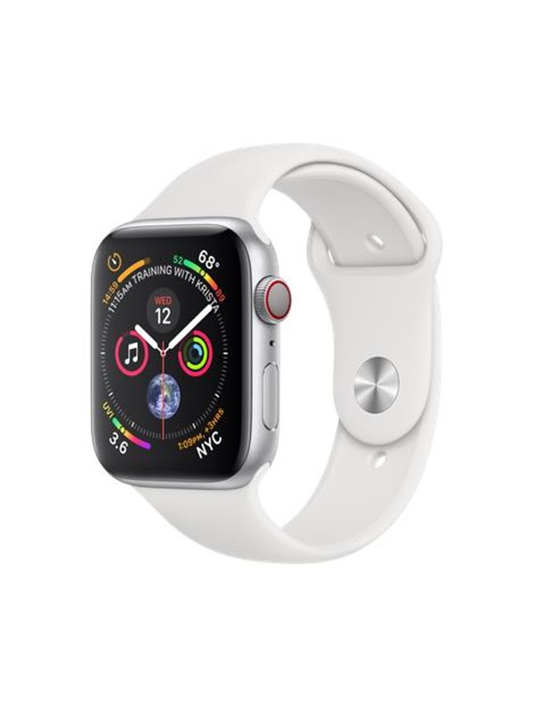Image of   Apple Watch Series 4 (GPS + Cellular) 44mm - Silver Alu with White Sport Band