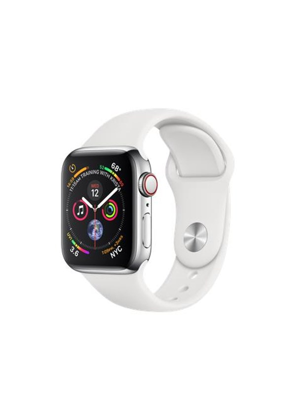 Image of   Apple Watch Series 4 (GPS + Cellular) 40mm - Stainless Steel with White Sport Band