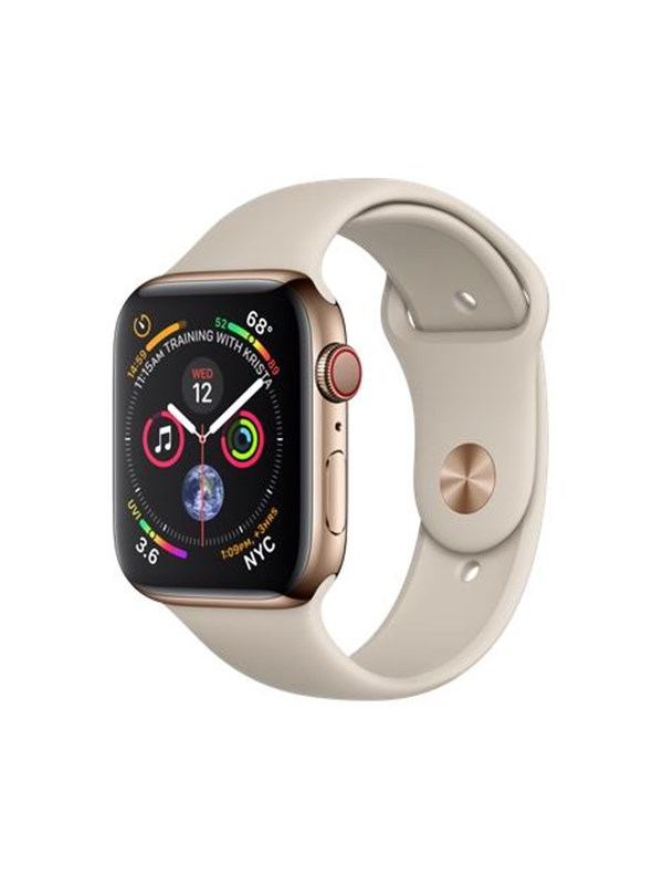 Image of   Apple Watch Series 4 (GPS + Cellular) 44mm - Gold Stainless Steel with Stone Sport Band