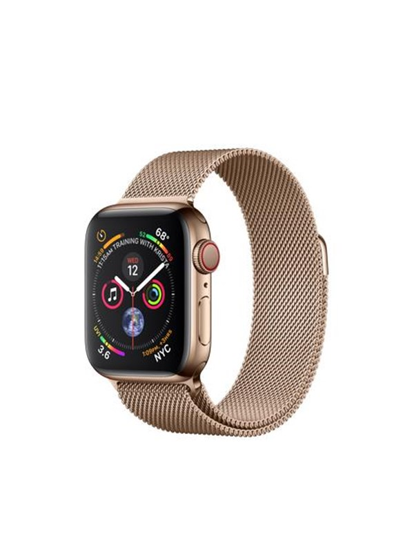 Image of   Apple Watch Series 4 (GPS + Cellular) 40mm - Gold Stainless Steel with Gold Milaneese Loop