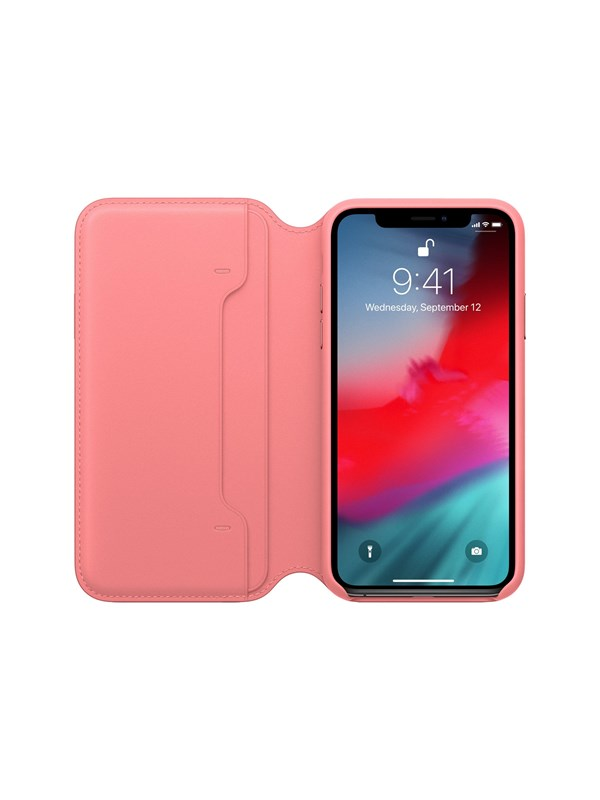 Image of   Apple iPhone XS Leather Folio - Peony Pink