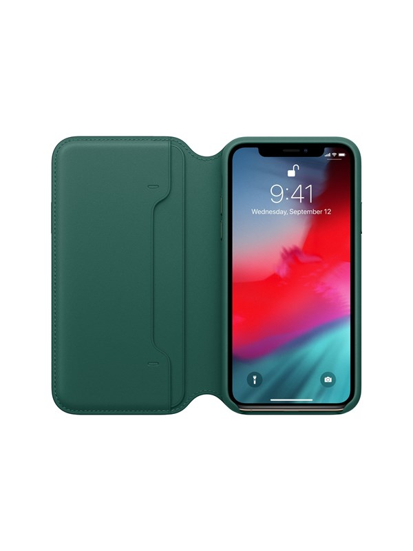 Image of   Apple iPhone XS Leather Folio - Forest Green