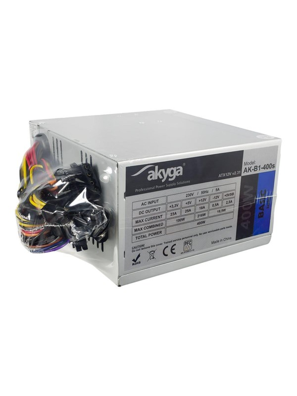Image of   Akyga AK-B1-400S - Basic Series - power supply - 400 Watt Strømforsyning - 400 Watt - 80 mm - 80 Plus