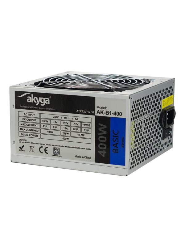 Image of   Akyga Basic Series Strømforsyning - 400 Watt - 120 mm - 80 Plus
