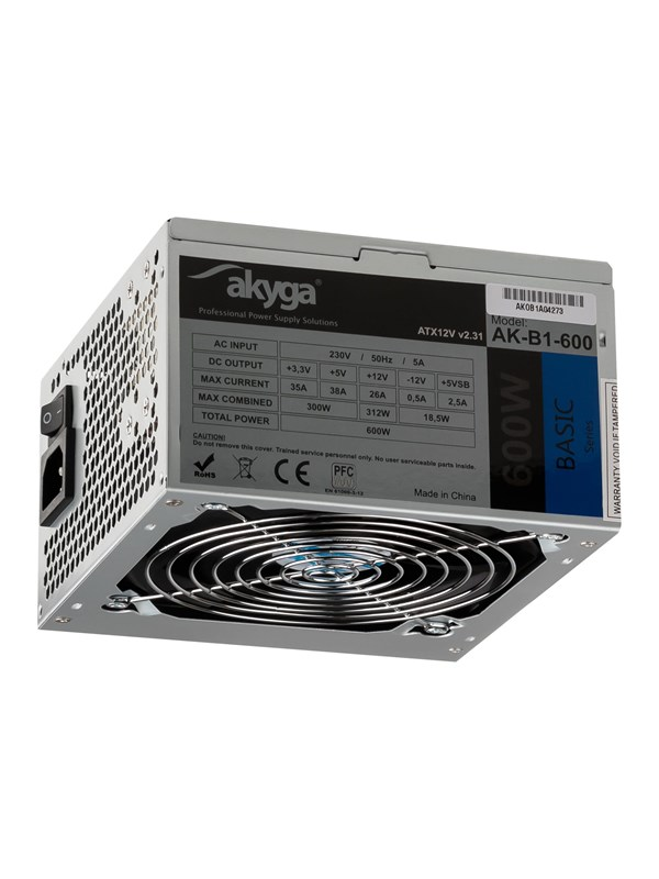 Image of   Akyga Basic Series Strømforsyning - 600 Watt - 120 mm - 80 Plus