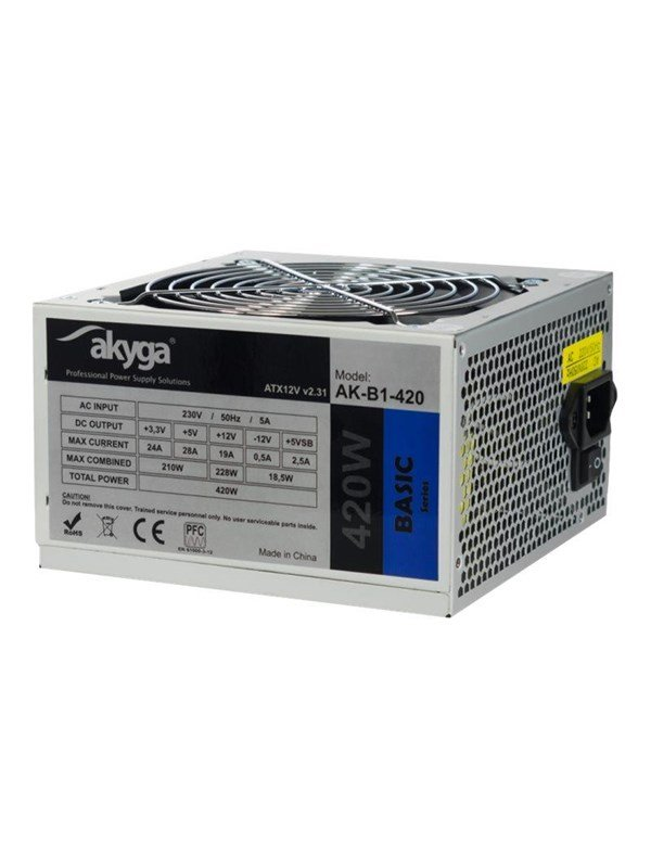 Image of   Akyga AK-B1-420 - power supply - 420 Watt Strømforsyning - 420 Watt - 120 mm - 80 Plus