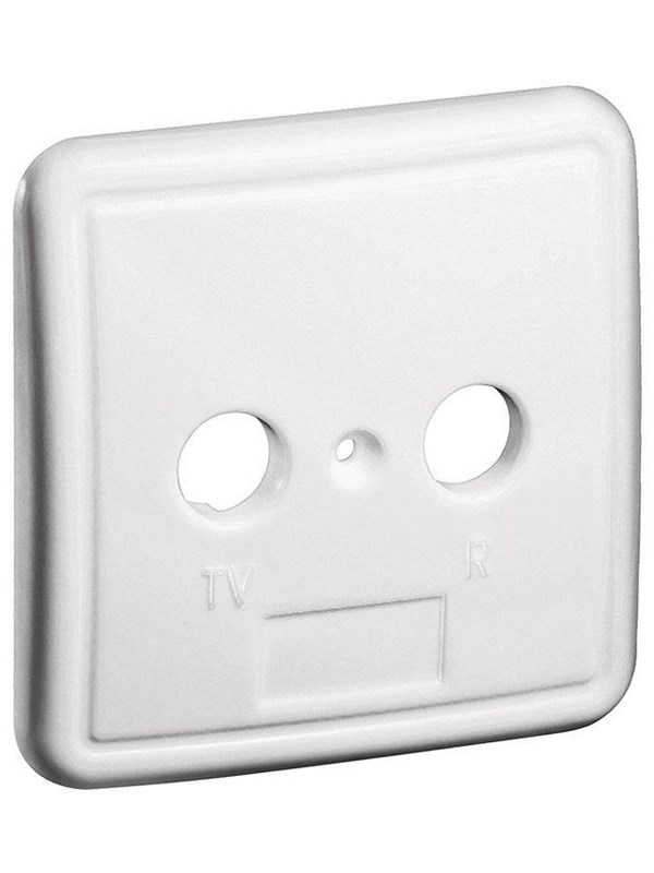 Image of   Pro 2 holes cover plate for antenna wall sockets white