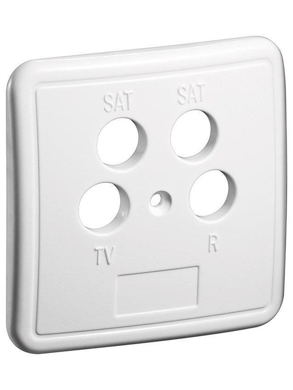 Image of   Pro 4 holes cover plate for antenna wall sockets white