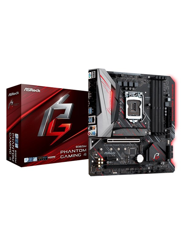 Image of   ASRock B365M Phantom Gaming 4 Bundkort - Intel B365 - Intel LGA1151 socket - DDR4 RAM - Micro-ATX