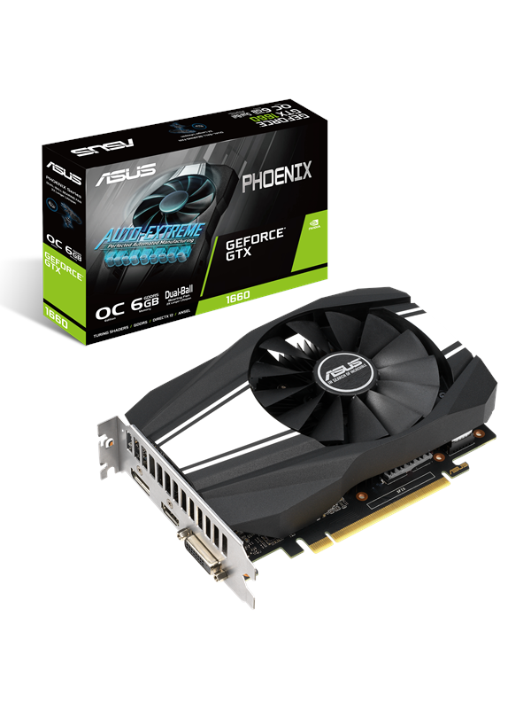 Image of   ASUS GeForce GTX 1660 Phoenix OC - 6GB GDDR5 RAM - Grafikkort