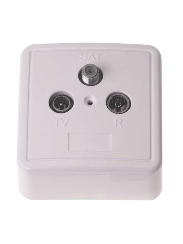 Image of   Triax TOU - 01S outlet R/TV/SAT outlet terminated w/ white cover