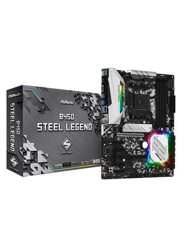 Image of   ASRock B450 Steel Legend Bundkort - AMD B450 - AMD AM4 socket - DDR4 RAM - ATX