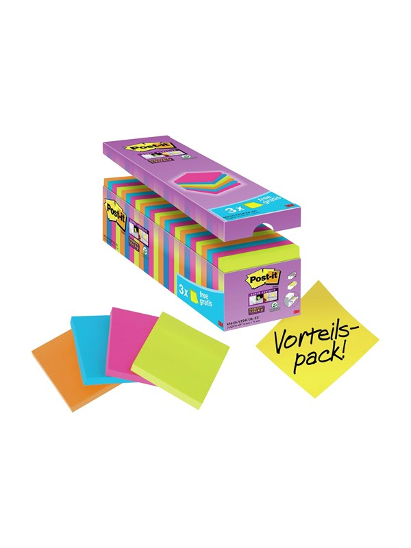 Image of   3M Post-it Super Sticky 654-SS-VP24COL-EU