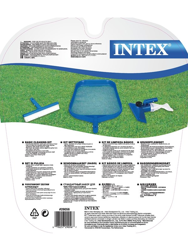 Image of   Intex Basic Cleaning Kit Leaf Skimmer/Wall Brush/Vacuum Head