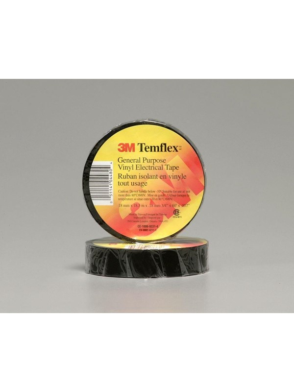 Image of   3M 3MTM Temflex 1500 vinyl tape, for isolering og mærkning. 0.15 mm tyk. 15 mm x 10 m. Sort