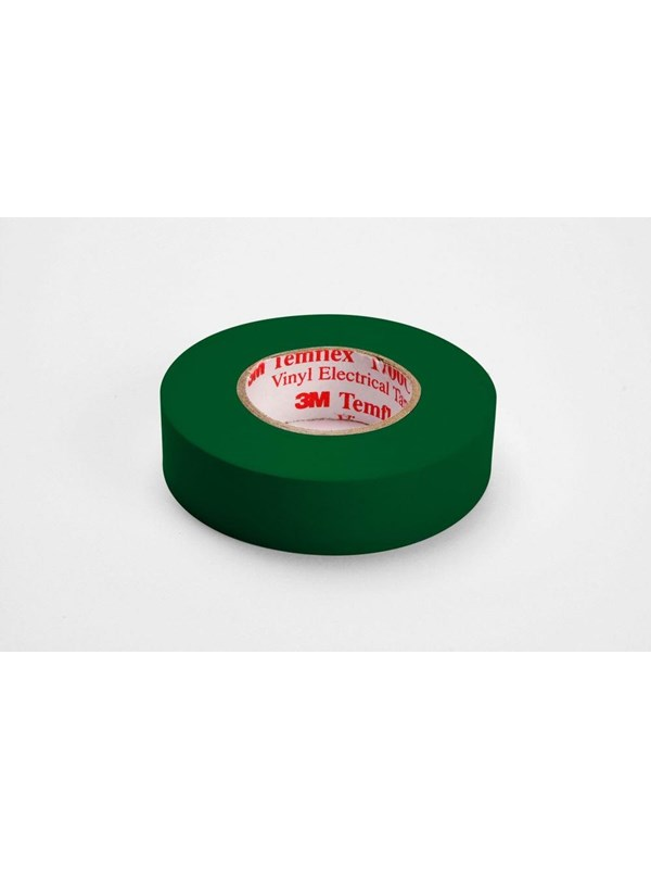 Image of   3M 3MTM Temflex 1500 vinyl tape, for isolering og mærkning. 0.15 mm, tyk. 15 mm, x 10 m. Grøn