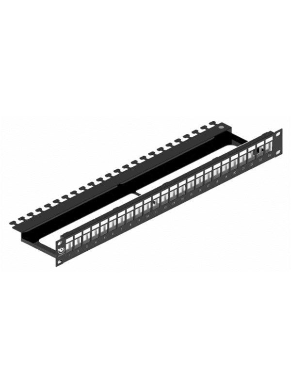 Image of   Leviton Patch panel for 24xrj45 tool-free jacks 1u black