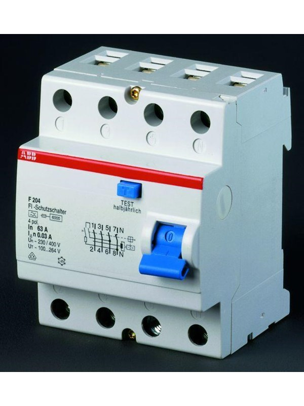 Image of   ABB F204 a-63/0.03 residual current device