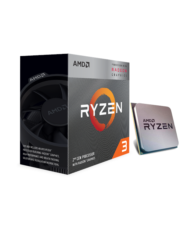 Image of   AMD Ryzen 3 3200G Wraith Spire CPU - 4 kerner 3.6 GHz - AMD AM4 - AMD Boxed (PIB - med køler)